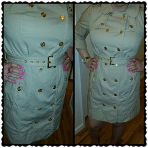 JUICY COUTURE Tan Trench pleated belted